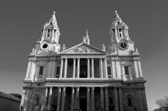 St Pauls Cathedral in London, UK. In black and white Royalty Free Stock Image