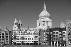 St Pauls Cathedral in London, UK. In black and white Royalty Free Stock Images