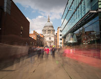 ST Pauls Cathedral London. LONDON, UK - 25TH MARCH 2015:  A view towards St PAuls Cathedral in London during the day. Showing the blur of people walking past Royalty Free Stock Photos