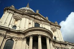 St Pauls cathedral London United Kingdom. From a low angle Stock Image