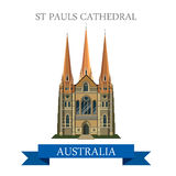 St Pauls Cathedral Melbourne Australia vector flat landmarks Stock Images