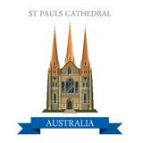 St Pauls Cathedral Melbourne Australia vector flat landmarks Stock Images