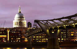 St Pauls Cathedral and Millenium Bridge Stock Photos
