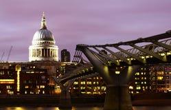 St Pauls Cathedral and Millenium Bridge Stock Photos