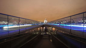 St. Pauls Cathedral and Millenium Bridge London. LONDON, ENGLAND stock footage