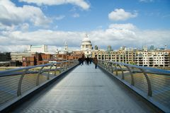 St Pauls cathedral from the Millennium Bridge. St Pauls cathedral view from the Millennium Bridge, London royalty free stock images