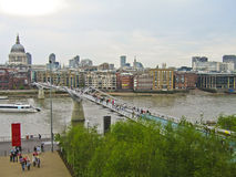 St Pauls cathedral and Millennium bridge in London Stock Photo
