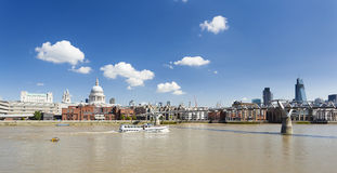 St Pauls Cathedral and Millennium Bridge Royalty Free Stock Photos