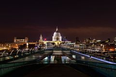 St Pauls Cathedral from Millennium Bridge stock photo