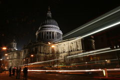 St Pauls Cathedral at Night. With trail of lights from by passing vehicles Royalty Free Stock Photography