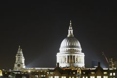 St. Pauls Cathedral at night. London. UK Royalty Free Stock Images