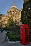 St Pauls Cathedral and Red Telephone Box in London, UK Royalty Free Stock Photography