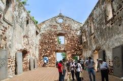 St. Pauls Church in Malakka Stockbilder