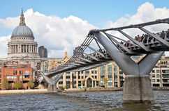 St Pauls and millenium bridge Royalty Free Stock Image