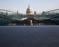 St Pauls and Millennium bridge Stock Photos