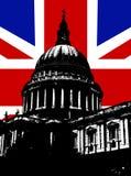 St Pauls och UK-flagga Royaltyfri Bild