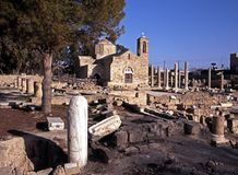 St. Pauls Pillar and Basilica, Paphos, Cyprus. Royalty Free Stock Photos