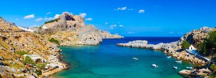 St Pauls zatoka Lindos Rhodes zdjęcie royalty free
