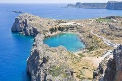 St Pauls zatoka w Lindos, Grecja Obraz Stock