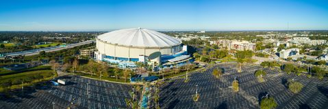 Aerial drone image Tropicana Field St Petersburg Florida USA. ST PETE, FL, USA - APRIL 20, 2018: Aerial drone image of Tropicana Field in St Petersburg Florida stock images