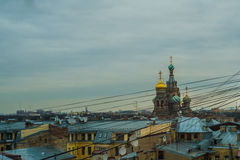 St Pete wired. Saint Peterburg Cathedral with wires Stock Images