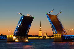 ST Peter και καθεδρικός ναός του Paul στην ευθυγράμμιση της συρμένης γέφυρας παλατιών, νύχτα Πετρούπολη Άγιος Στοκ φωτογραφία με δικαίωμα ελεύθερης χρήσης