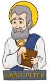 St Peter держа книгу и ключ с каменным знаком, иллюстрацией вектора иллюстрация вектора