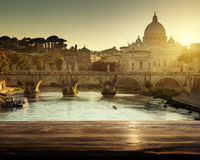St Peter Basilica in Vatican and wooden surface Royalty Free Stock Photos