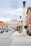 St.Peter Basilica from via Conciliazione in Rome Royalty Free Stock Images