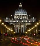 St Peter Basiliek in Rome, Italië Pauselijke zetel De stad van Vatikaan Stock Foto's