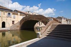 St.Peter Brug. Comacchio. Emilia-Romagna. Italië. Stock Fotografie