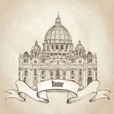 St. Peter Cathedral, Rome, Italy. Famous landmark. Travel label. Royalty Free Stock Photo