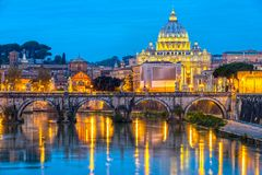 St Peter Cathedral, Rome, Italy. Wonderful view of St Peter Cathedral at night, Rome, Italy Stock Images