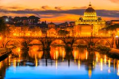 St Peter Cathedral, Rome, Italy. Wonderful view of St Peter Cathedral at sunset, Rome, Italy Stock Image