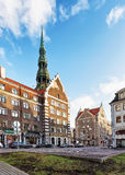 St Peter Cathedral at Town Hall Square in Riga Royalty Free Stock Image