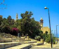 St. Peter catholic church and abbey in Old Jaffa as seen from Tel-Aviv side Royalty Free Stock Images