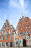 St. Peter Church and House of the Blackheads at Town Hall Square(old town) in Riga, Latvia. Royalty Free Stock Photos
