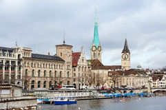 St. Peter Church and old Clock tower in Zurich, Switzerland Stock Images