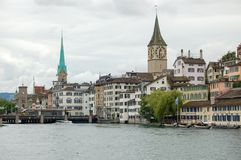 St Peter Church and Our Lady Church - Zurich. St Peter Church (Kirche) and Our Lady (Fraumunster) Church along the Limmat River - Zurich Royalty Free Stock Images