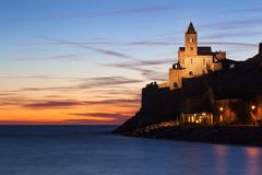 St. Peter Church, Portovenere, Italy. St. Peter Church at twilight Stock Photos