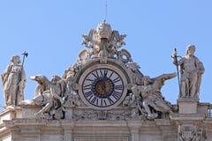 St Peter clock. Clock with sculptures at Saint Peter basilica in Vatican Royalty Free Stock Image
