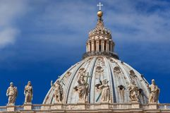 St Peter dome among clouds in Rome stock photo