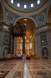 St. Peter dome in Rome. ROME - August 03: Architectural fragment of St. Peter's Cathedral on August 03, 2014 in Vatican (Rome), Italy Royalty Free Stock Photo