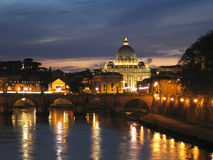 St. Peter Dome in Vatican, night Stock Images