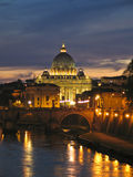 St. Peter Dome in Vatican, night Royalty Free Stock Photography