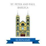 St Peter e Paul Basilica no Suriname vector a atração lisa ilustração do vetor