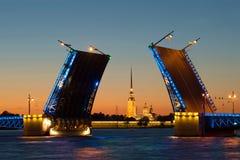 St Peter e Paul Cathedral nell'allineamento del ponte tirato del palazzo, notte St Petersburg Fotografia Stock Libera da Diritti