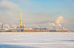 St Peter en de vesting van Paul bij een wazige ijzige de winterdag Stock Afbeeldingen