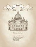 St Peter katedra, Rzym, Włochy Podróży Vaticat retro tapeta ilustracja wektor