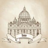 St. Peter katedra, Rzym, Włochy. Sławny punkt zwrotny. Podróży etykietka. ilustracja wektor